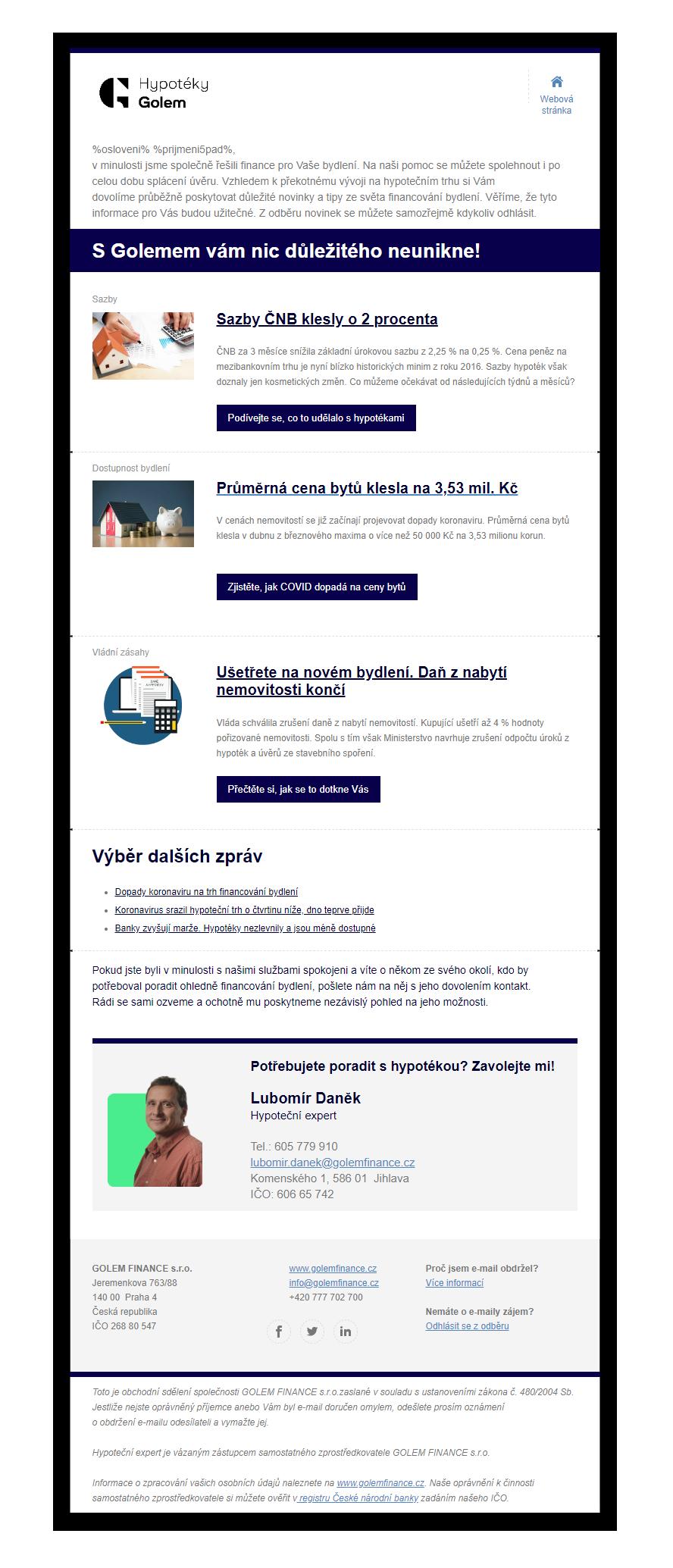 Ukázka emailových kampaní - golem finance